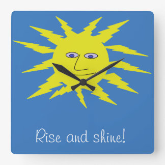 Rise and shine Cool Sun Face Design Blue Square Wall Clock