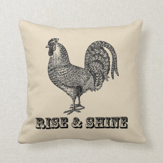 Rise and Shine Rooster Farmhouse Throw Pillow