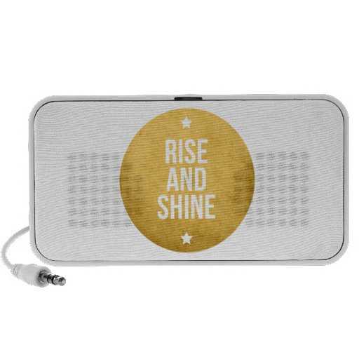 Rise and shine text design, word art portable speaker