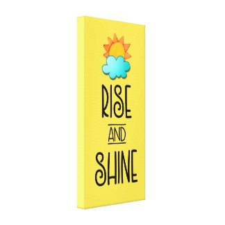 Rise and Shine Typography With Sun and Cloud Canvas Print