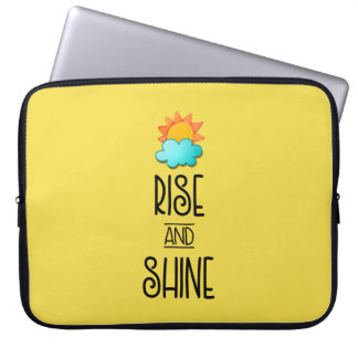 Rise and Shine Typography With Sun and Cloud Computer Sleeves