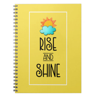 Rise and Shine Typography With Sun and Cloud Spiral Notebooks