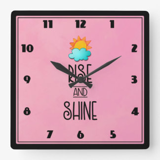 Rise and Shine Typography With Sun and Cloud Square Wall Clock