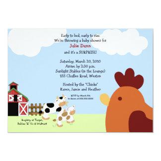 Rise 'n' Shine Barnyard Cow Chicken Baby Shower 13 Cm X 18 Cm Invitation Card