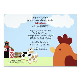 Rise 'n' Shine Barnyard Cow Chicken Baby Shower Card