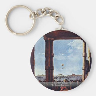 Rise Of A Balloon By Guardi Francesco Basic Round Button Key Ring