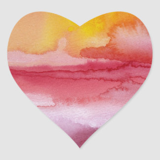 Rise - Red Abstract Ombre Watercolor Sunsrise Heart Sticker