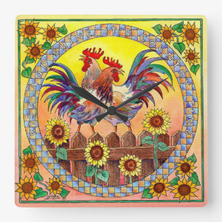 RISE & SHINE ROOSTER by SHARON SHARPE Wall Clock