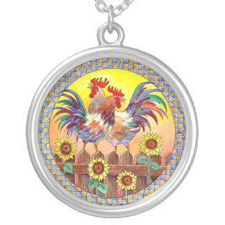 RISE & SHINE ROOSTERS by SHARON SHARPE Silver Plated Necklace