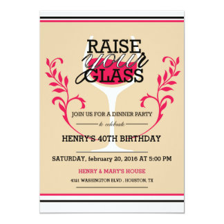 Rise your glass - Adult Birthday Invitation