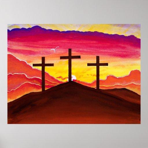 Risen As He Said Three Crosses Jesus Easter Poster