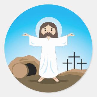 Risen Christ Classic Round Sticker