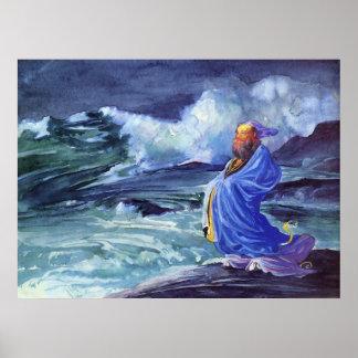 Rishi Calling Up A Storm Vintage John La Farge Pri Poster