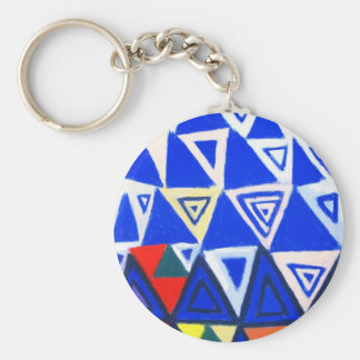 Rising Blue Triangles (geometric expressionism) Basic Round Button Key Ring