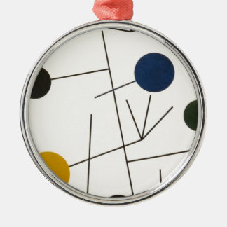 Rising, Falling, Flying by Sophie Taeuber-Arp Silver-Colored Round Decoration