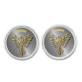 Rising Golden Phoenix Gold Flames With Shadows Cufflinks
