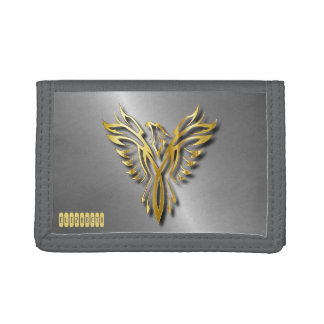 Rising Golden Phoenix Gold Flames With Shadows Tri-fold Wallets