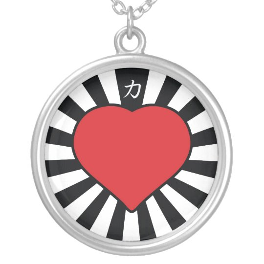 Rising Heart blk Silver Plated Necklace