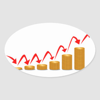 Rising Money Steps Oval Sticker