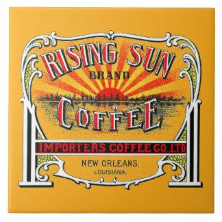 Rising Sun Coffee Trivet Large Square Tile