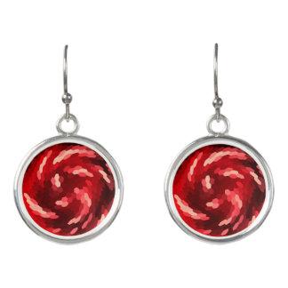 Rising Sun Red Circular Drop Earrings