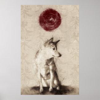 Rising Sun Shiba Inu Poster