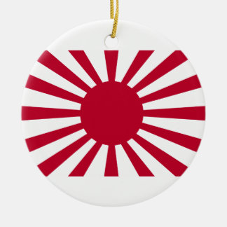 Rising Sun War Flag of the Imperial Japanese Army Double-Sided Ceramic Round Christmas Ornament