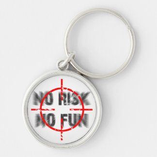 risk and fun Silver-Colored round key ring
