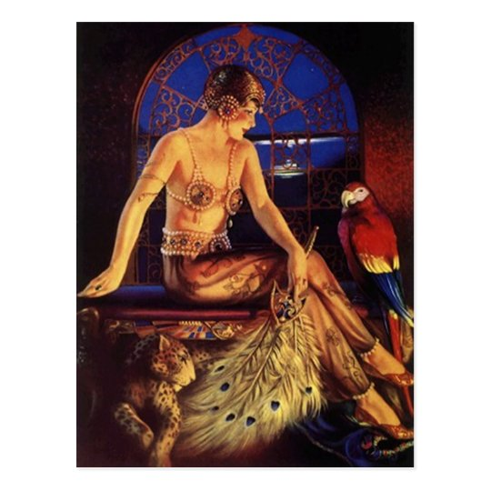 Risque Flapper Fashion Girl & Exotic pets Postcard