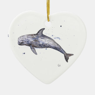 Risso Dolphin Illustration Christmas Ornament