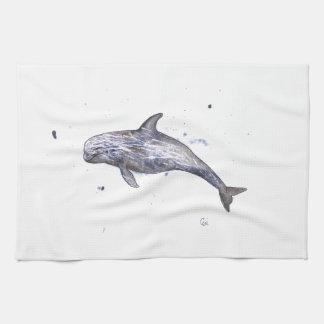 Risso Dolphin Illustration Tea Towel