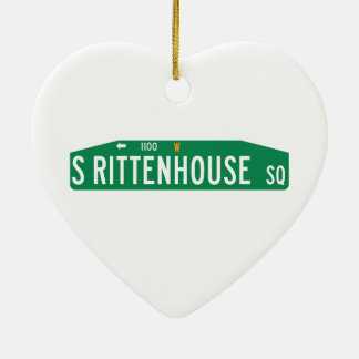 Rittenhouse Square, Philadelphia, PA Street Sign Ceramic Heart Decoration