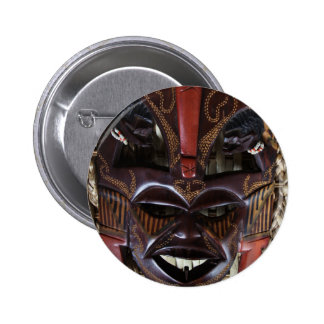 Ritual African Tribal Wooden Carved Mask Brown Red 6 Cm Round Badge