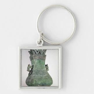 Ritual 'Hu' vase, Chou Dynast Silver-Colored Square Key Ring