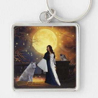 Ritual Night Silver-Colored Square Key Ring
