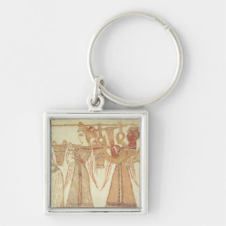 Ritual scene of worship Silver-Colored square key ring