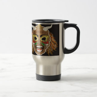 Ritualistic Tribal Mask Vector Stainless Steel Travel Mug