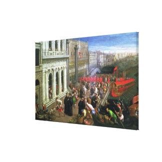 Riva degli Schiavoni, Venice (oil on canvas) (deta Canvas Print