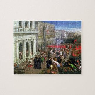 Riva degli Schiavoni, Venice (oil on canvas) (deta Jigsaw Puzzle