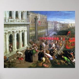 Riva degli Schiavoni, Venice (oil on canvas) (deta Poster