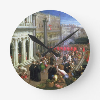 Riva degli Schiavoni, Venice (oil on canvas) (deta Round Clock