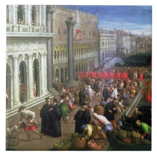Riva degli Schiavoni, Venice (oil on canvas) (deta Tile