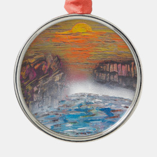 River above the falls christmas ornament