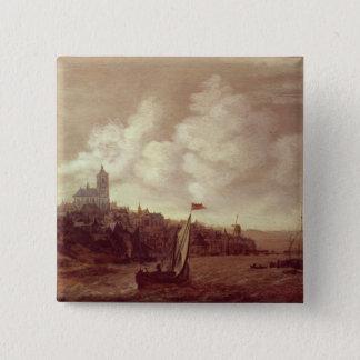 River and City Scene 15 Cm Square Badge
