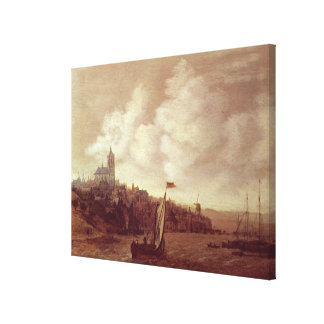 River and City Scene Canvas Print