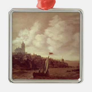 River and City Scene Christmas Ornament