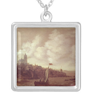 River and City Scene Silver Plated Necklace