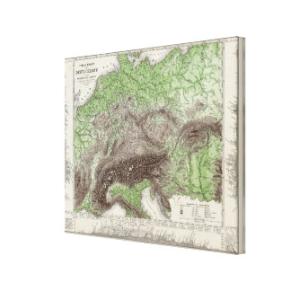 River and Mountain Map of Germany Canvas Print
