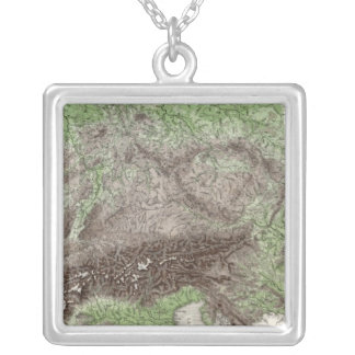 River and Mountain Map of Germany Silver Plated Necklace