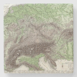 River and Mountain Map of Germany Stone Coaster